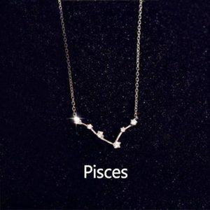 Jewelry - Sterling Silver Diamond Zodiac Necklace--Pisces